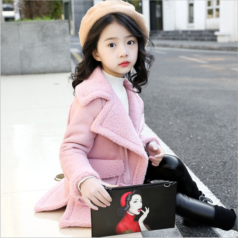 IIMADFWIW Jacket Winter Coat For Girls Fashion Turn Collar Warm Suede Windbreaker Children Girl Clothes 110-160