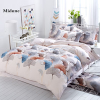 New 3D 100 Cotton Beautiful Leaf Flowers Comfortable Soft Bedding Set Duvet Cover Sheet Pillowcases King
