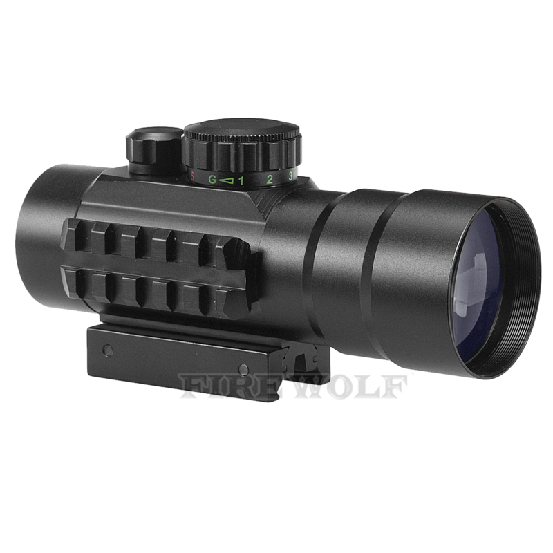 FIRE WOLF 3x42 Hunting Riflescope Telescope Binoculars Red Green Cross Airsoft Rifle Scope Sight With 20mm And 11mm Tri Picatinn