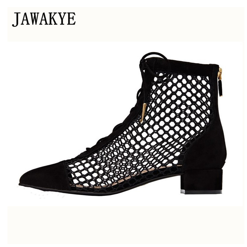 JAWAKYE Sexy Air Mesh Cut Outs Summer Ankle Boots for Women Flat Heels Shoes Female Patchwork Lace Up Ankle Shoes Botas MujerJAWAKYE Sexy Air Mesh Cut Outs Summer Ankle Boots for Women Flat Heels Shoes Female Patchwork Lace Up Ankle Shoes Botas Mujer