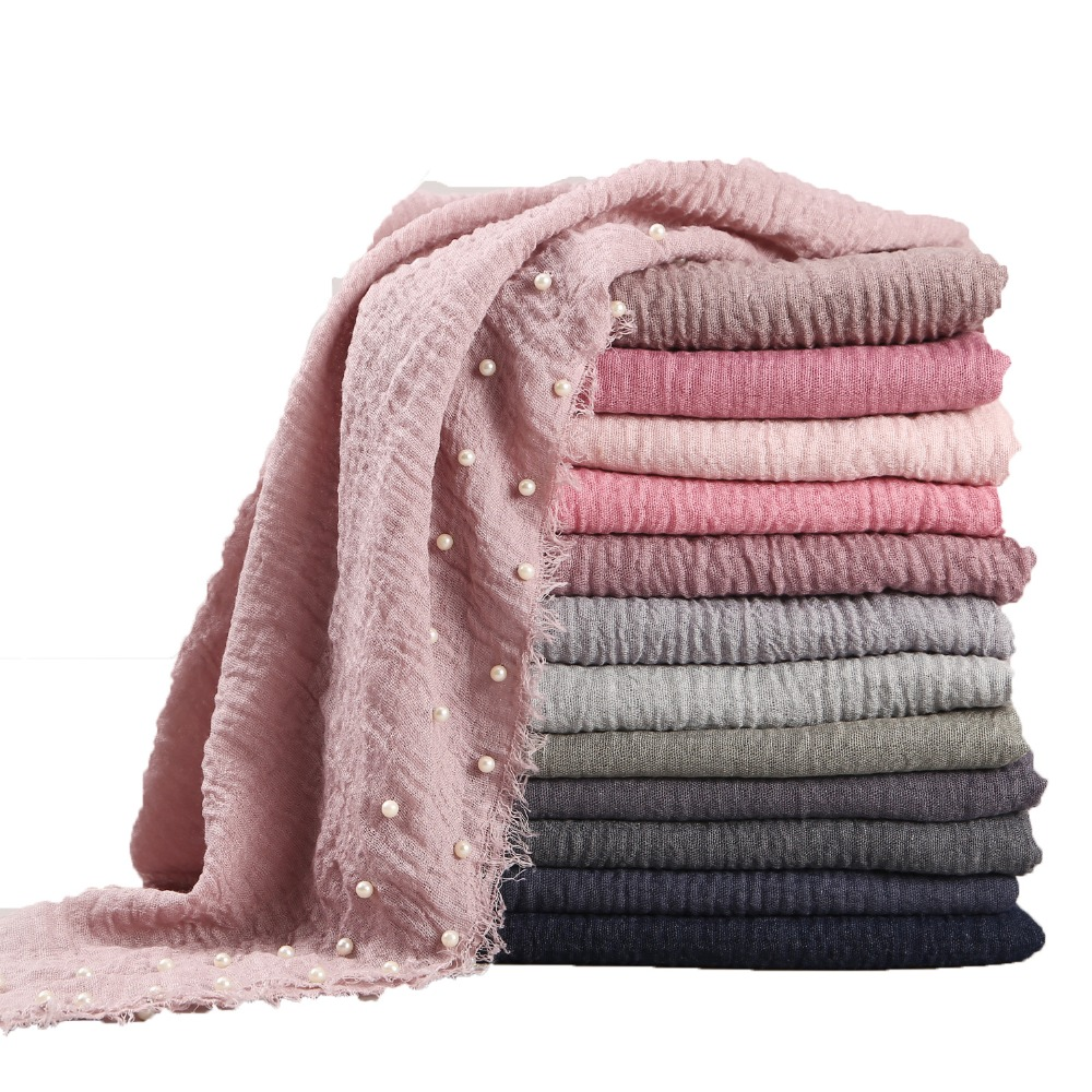 55 Color New Designs Cotton Scarf Beads Bubble Pearl Wrinkle Shawls Hijab Drape Stitching Fringe Crumple Muslim Scarves/scarf