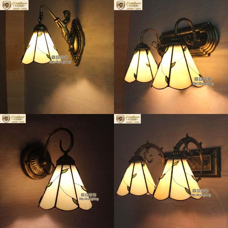 ФОТО Tiffany European American country creative wall willow lighting bedroom bedside lamp bathroom bathroom mirror lamp A1