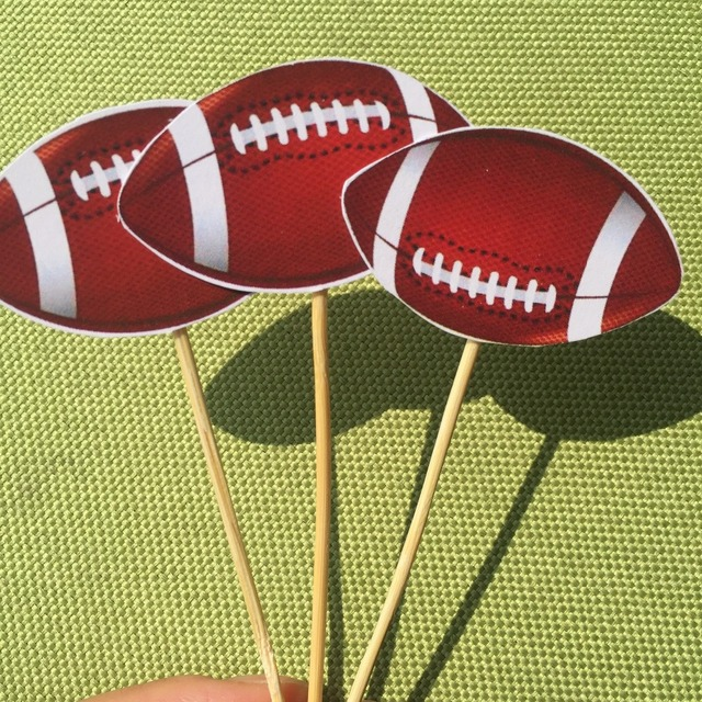 Rugby Balls Birthday Party Decorations Cake Top American Football Cupcake Toppers 24ct
