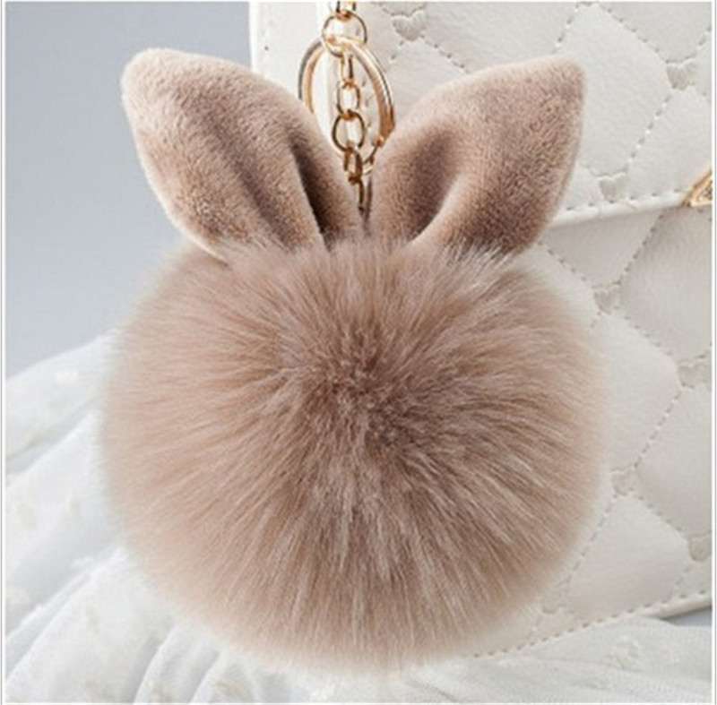 New Mini Plush Kawaii Rabbit Fur Ball Keychain Cute Fashion Kids Plush Dolls Pom Pom Soft Fluffy Charm Baby For Girls Women Gift