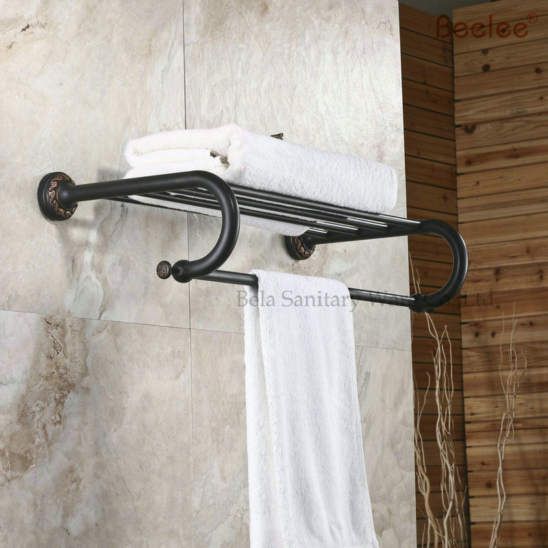 Beelee BL8403B 60CM Brass Wall Mounted Bathroom Towel Rack/Holder/Shelf With Towel Bar O ...