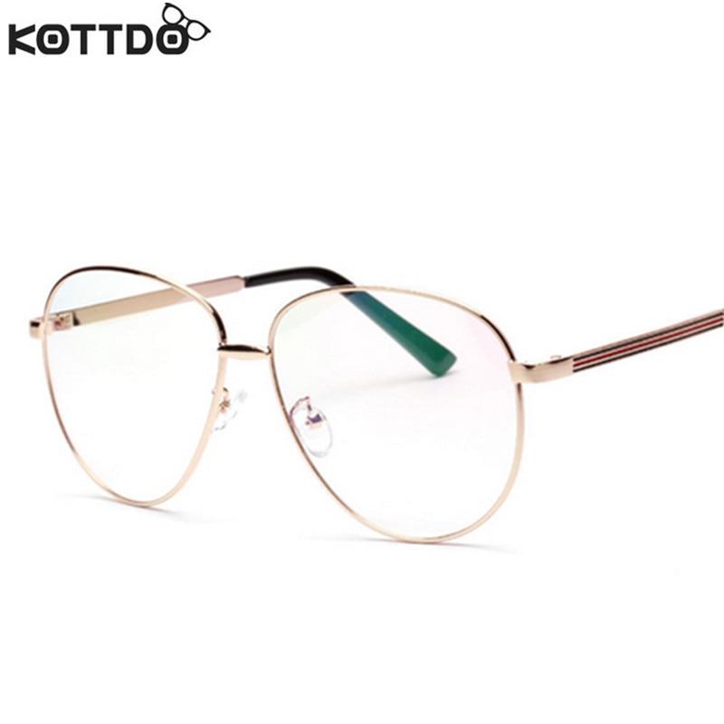 5972607eb29b3d KOTTDO Nieuwe Retro Man Vrouw Bijziendheid Monturen Super Piloten Vrouw  Ronde Frame Computer Leesbril Gouden Frame Bril