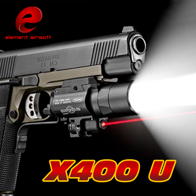 EX367 Element SF X400 ULTRA LED Tactical Light 20mm Picatinny Weaver Rail Weapon Light With Red Laser For Pistol or Hunting tgpul tactical sf x300 ultra pistol gun light x300u 500 lumens high output weapon flashlight fit 20mm picatinny weaver rail