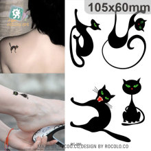 Halloween Waterproof Temporary Tattoos For Lady Women Cute 3d Black Cat Design Flash Tattoo Sticker RC2250