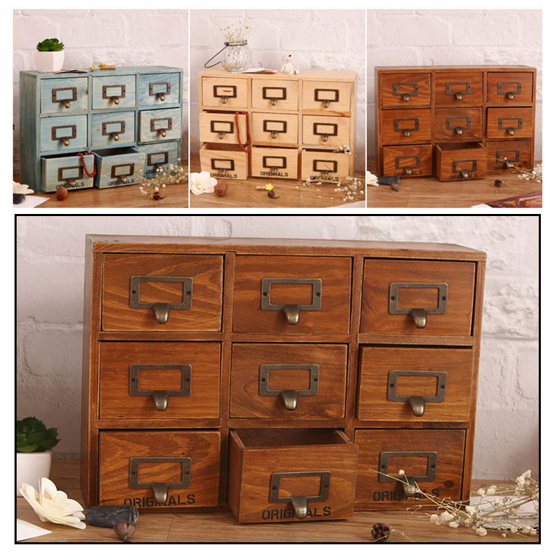 Home Desktop Nine Grid Three Layers Wooden Storage Drawer Jewelry Medicine Cabinet Home Storage Organizer Tools Storage Cabinet