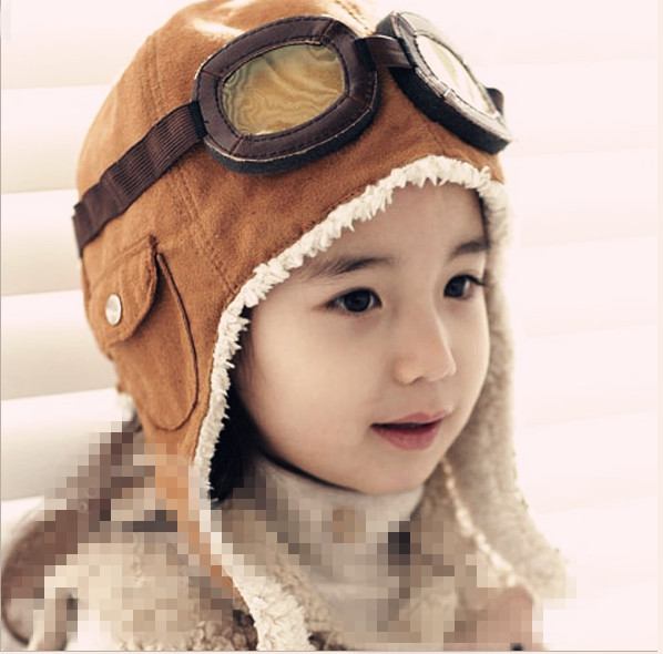 New Fashion Hats Child Pilot Aviator Hat Earmuffs Beanies Kids Autumn Winter Warm Earflap Ear Protection Cap Child Accessories(China)