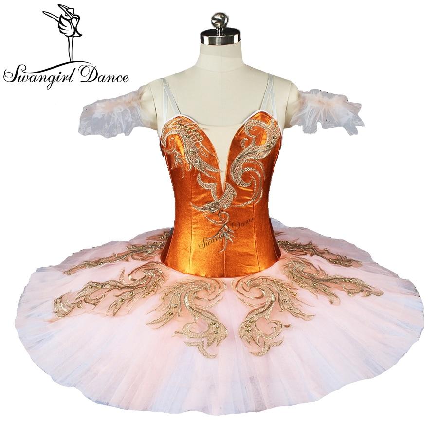 new arrival fluffy professional tutu girls dark orange classical pancake ballet costumes fairy ballet tutu dressBT9165