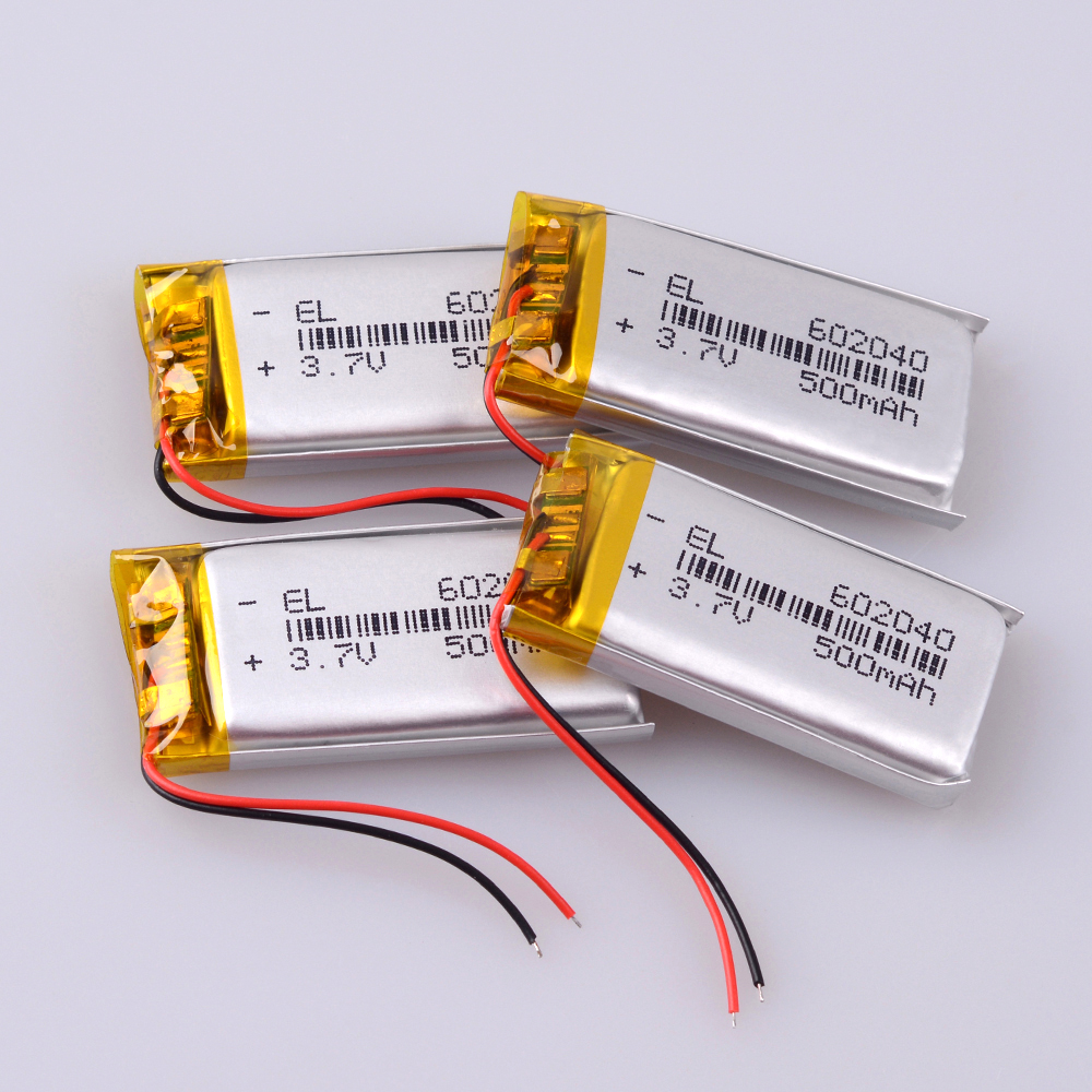 602040 <font><b>500mAh</b></font> Rechargeable <font><b>Battery</b></font> <font><b>3.7v</b></font> <font><b>Li</b></font> Ion <font><b>Po</b></font> Lithium Polymer <font><b>Batteries</b></font> For Voice Recorder Backup Power PC image