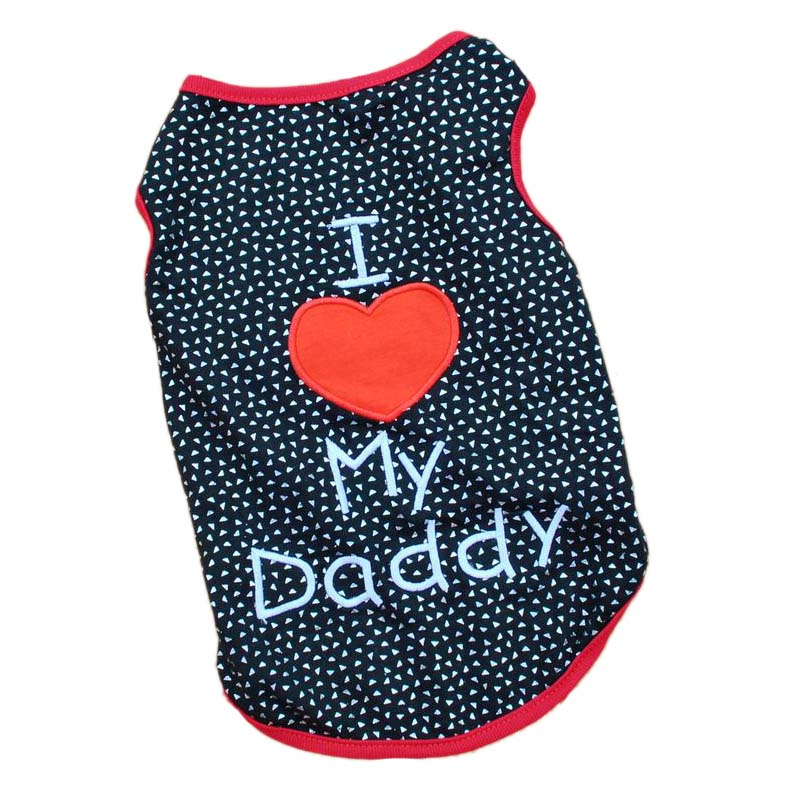 I Love My Daddy Puppy Vest T Shirt Summer Pet Apparel Cute Big Red Heart Small Dog Cat Pet Clothes Dots T-shirt XS S M L1