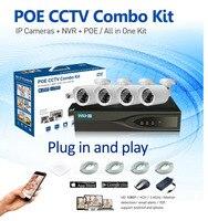 HD 1080P POE 4PCS 1 0MP IP Network Security Camera CCTV System 720P 4CH HDMI NVR