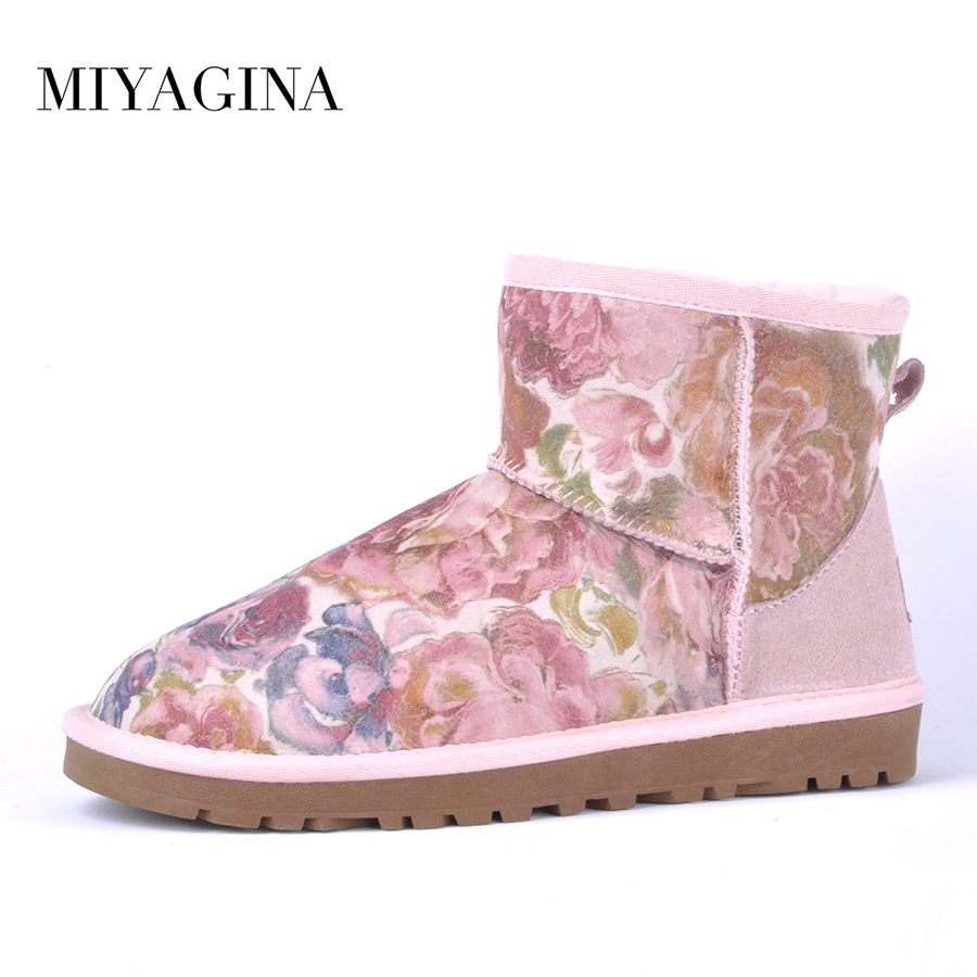 MIYAGINA Top quality Classic waterproof 100% genuine sheepskin leather snow boots natural fur Non-Slip Women boots Free shipping
