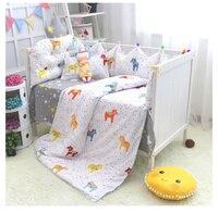 7 шт./компл. постельные принадлежности для малышей включают кровать листовые бамперы пододеяльник наволочка хлопок Новорожденный мягкое по