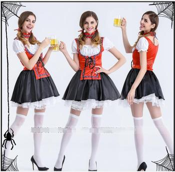a3c10f56af62c Mode Oktoberfest bière fille Costume femme de chambre allemagne bavaroise à  manches courtes fantaisie robe Dirndl pour les femmes adultes