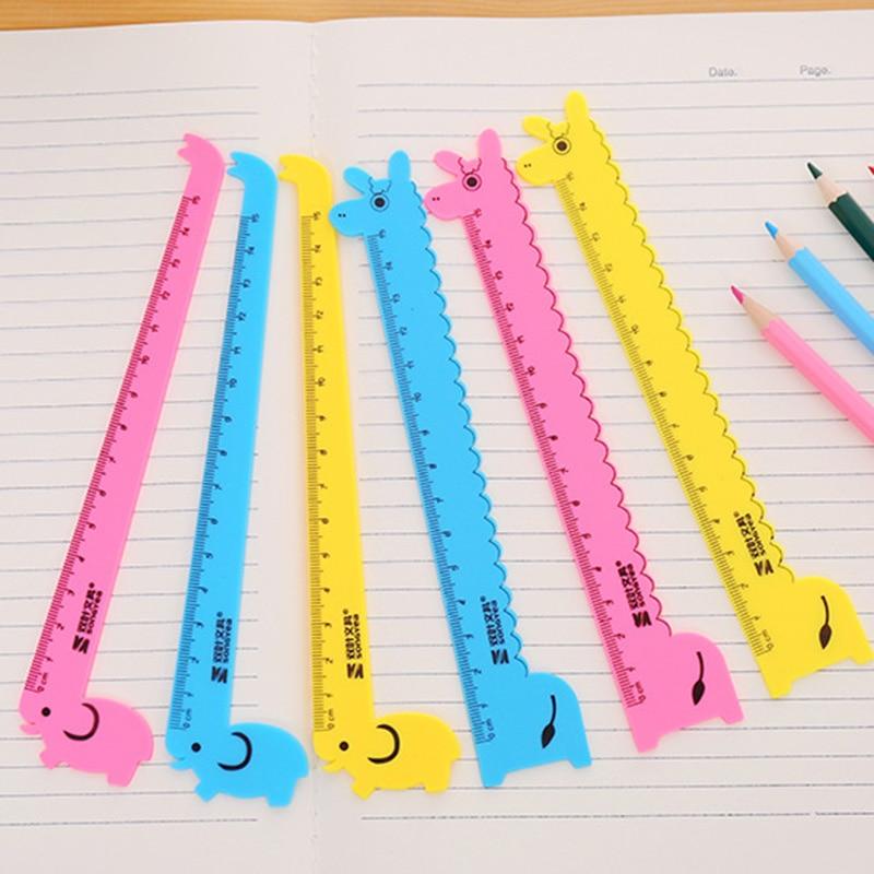 5 PCS Cute Animal Cartoon Giraffe Plastic Straight Ruler Papelaria Creative Stationery School Supplies 15cm