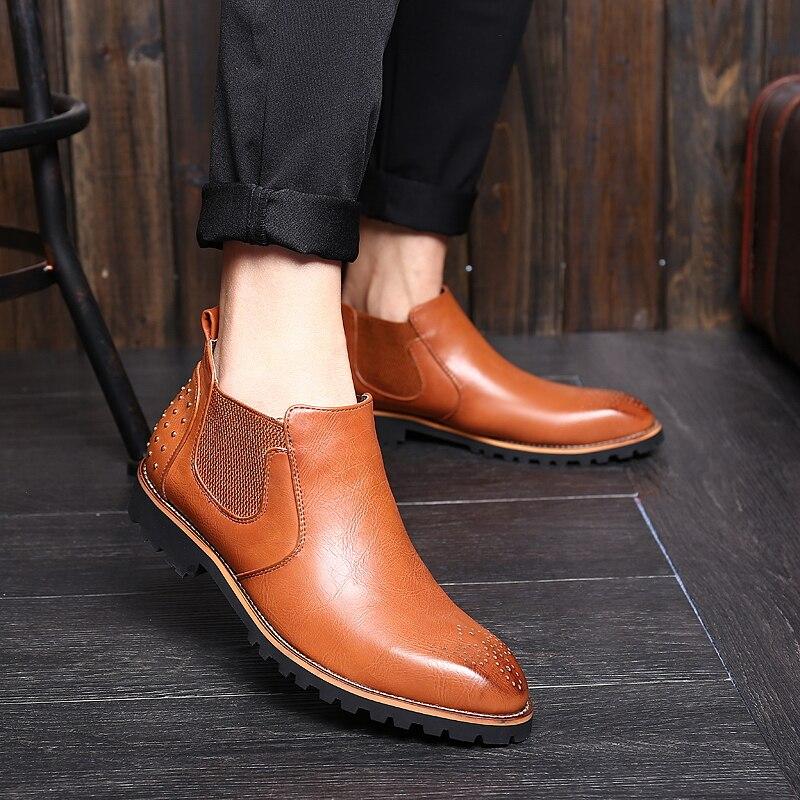 Bout rouge Bottes Noir Robe Automne Pointu Pour Chaussures Qualité Cuir brown Casual Botas Cheville Hommes Marque Brun De En Design Mode qr6npwqR1