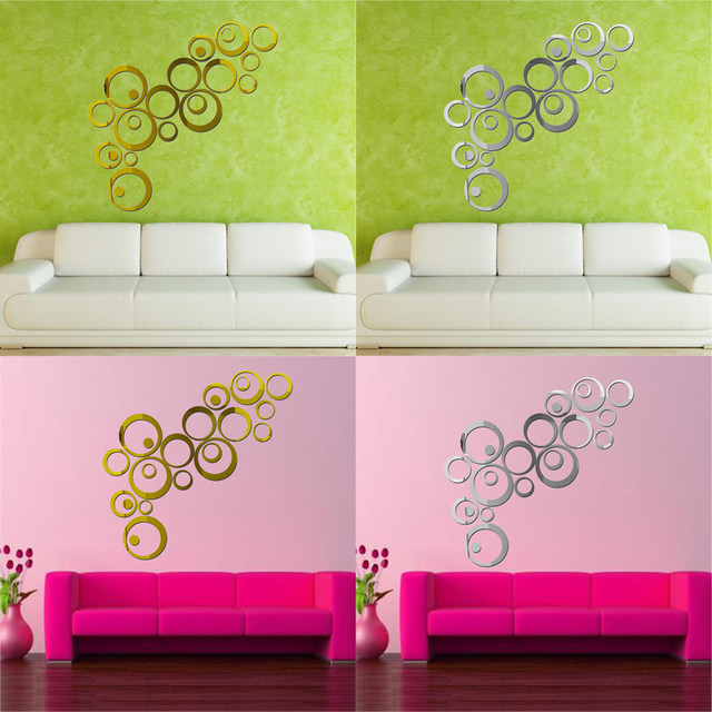 Online Shop Acrylic Mirror Wall Stickers Circle Modern Removable ...