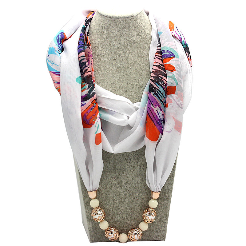 все цены на Ahmed New Ethnic Blue and White Porcelain Pattern Beads Scarf Necklaces Fashion Scarves for Women Gift Collar Choker Jewelry