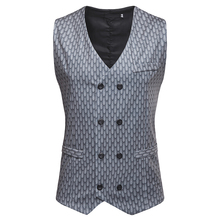 Dress Vest For Men Slim Fit Mens Suit Male Waistcoat Fish Scale Casual Nightclub Sleeveless Formal Business Jacket