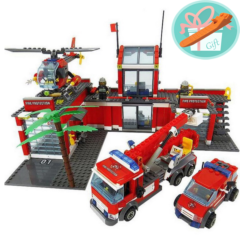 Wholesale Price!!! 774Pcs/Set Fire Fighter Station Building Blocks Fire Truck Fire Helicopter Fire Station Model Toys+With Gift angela royston fire fighter