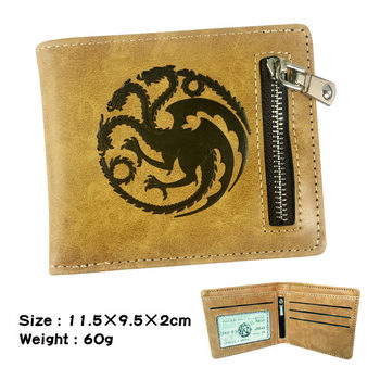 Leather Pu Anime Wallet The Song Of Ice And Fire Game Of Thrones Daenerys Targaryen Dragon Badge Men Short Wallet Coin Purse