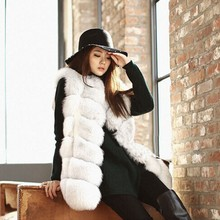 BellyAnna Winter Casual Outerwear Women Warm Gilet Vest High-Grade Faux Fox Fur Waistcoat Overwear Jacket Coat Parka Plus Size