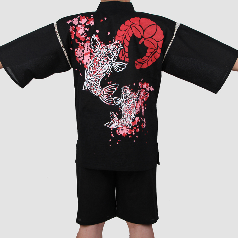 Traditional Men Japanese Pajamas Sets Simple Kimono Yukata Nightgown Sleepwear Bathrobe Leisure Wear Lover Homewear A52506