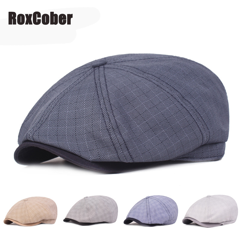 RoxCober New Herringbone Plaid Newsboy Cap Men Women Octagonal Cap Flat Cap Fashion Chic Travel Flat Cap Sun Hat Adjustable