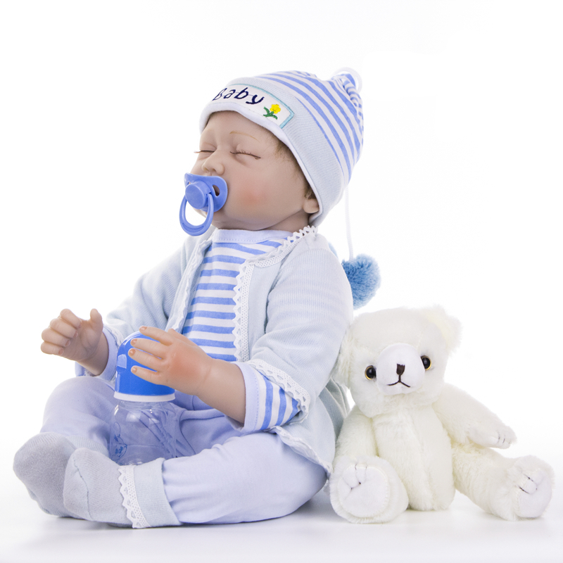 "Image 3 - KEIUMI 22"" 55cm Bebes Silicone Reborn  Baby Dolls Toys Cloth Body Boy Toddler Babies Newborn Dolls For Kids Best Playmate-in Dolls from Toys & Hobbies"