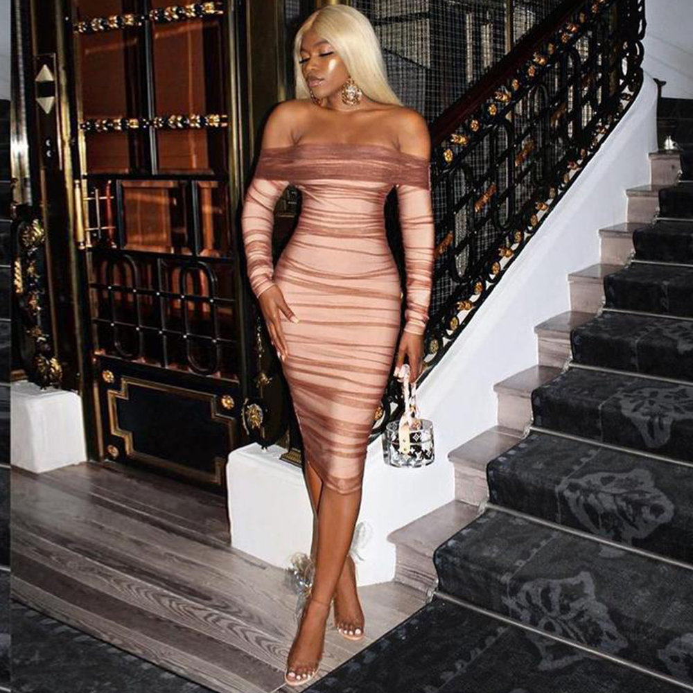 Deer Lady Summer Party Dress Women 2019 Sexy Mesh Bodycon Dress Long Sleeve Off Shoulder Sheer Ruched Celebrity Club Dress 2