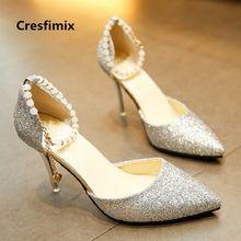 cc569ab3 Cresfimix tacones altos mujeres moda cómodo plata shinning tacón bombas  señora casual sexy boda zapatos de tacón alto c2432