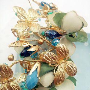 Image 5 - Himstory Vintage Blu Della Farfalla Del Fiore Tiara Corona Barocco Queen Festa di Nozze Accessori per Capelli