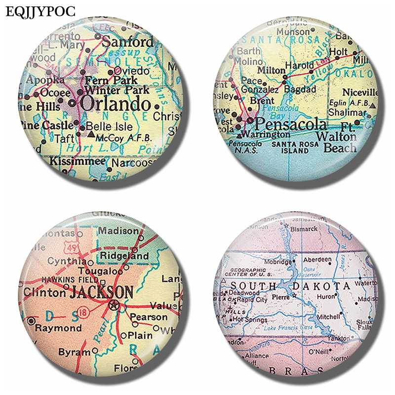 Orlando Florida Pensacola Jackson Mississippi South Dakota Kaart Souvenir Magneten Koelkast Magnetische Stickers Home Decor