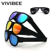d3a47fe8cd VIVIBEE nouveauté miroir hommes lunettes de soleil pliantes polarisées  nouveauté claque Sport pliable bracelet nuances 2019 prod.
