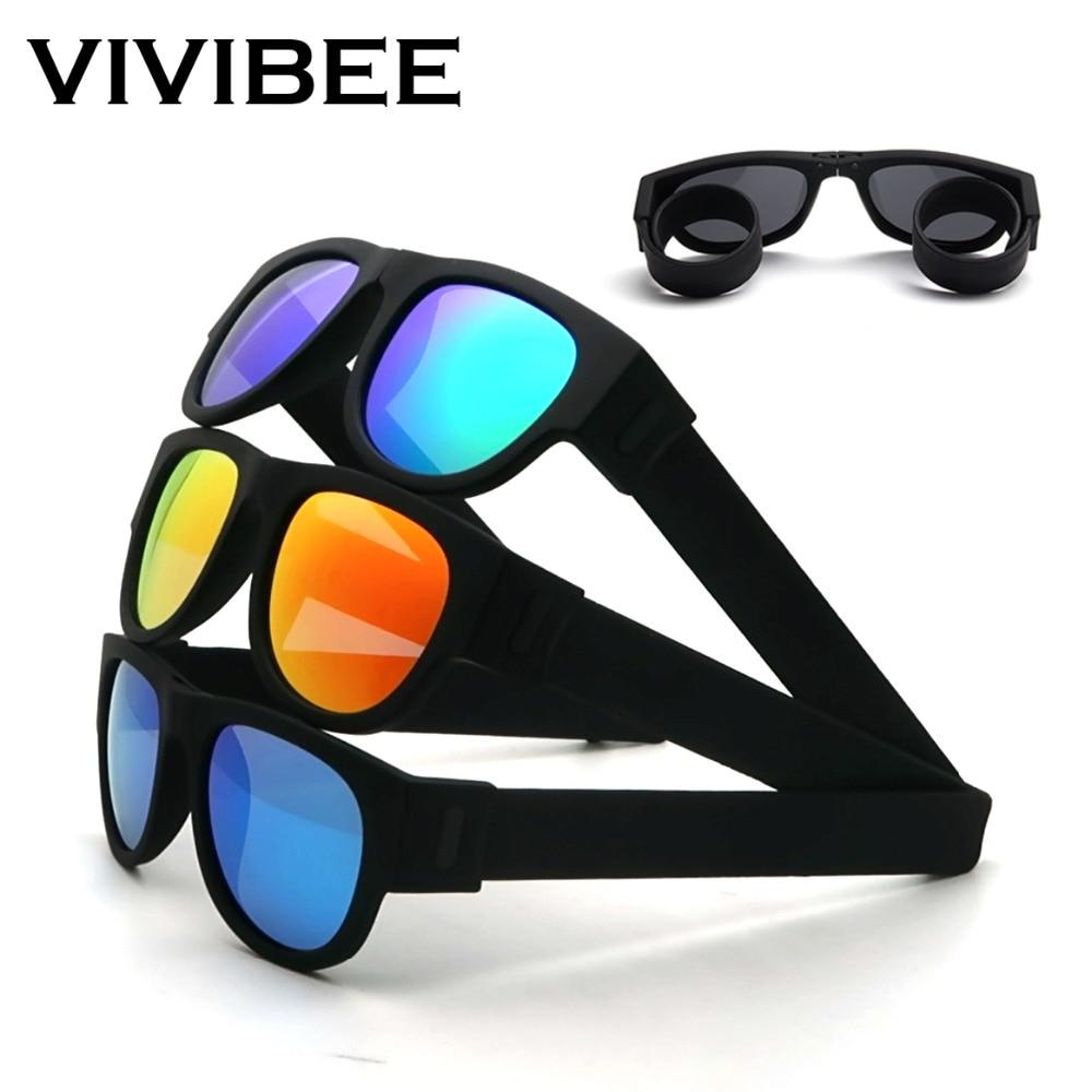 VIVIBEE Novelty Mirror Men Polarized Folding Sunglasses New Arrival Slap Sport Foldable Wristband Shades 2020 Trend Product