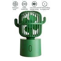 Mini Portable Outdoor Fan Cactus Shaking Head Fan Desktop Fan Rechargeable 2400 mAh Battery for Family and Travel|Fans| |  -