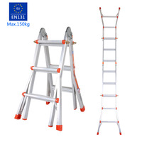 Lightweight 3 Step Folding Ladder Durable Aluminum Alloy Household Ladder Portable Foldable Extendable Adjustable Ladder