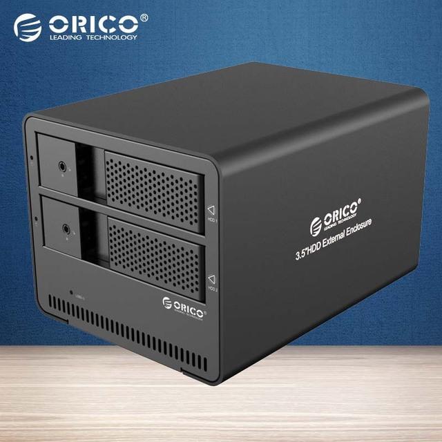 ORICO Herramienta libre $ number bahías USB3.0 Caja de DISCO DURO Externo de 3.5 Pulgadas SATA HDD case De Aluminio (9528U3-BK)