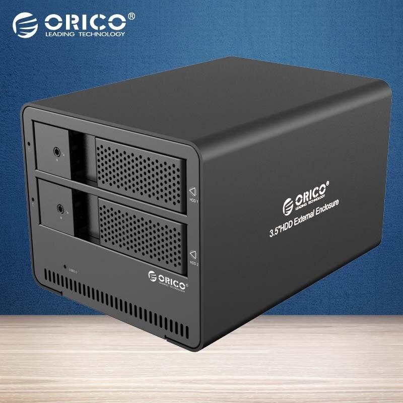 ORICO Tool free 2-bay USB3.0 Aluminum External 3.5 Inch SATA HDD case HDD Enclosure (9528U3-BK )