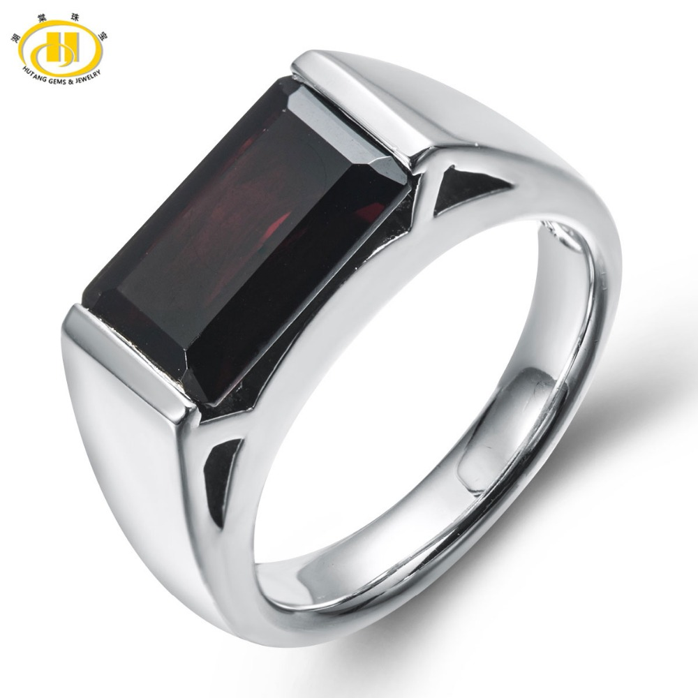 HUTANG 4 0ct Natural Black Garnet Emerald Cut Solid 925 Sterling Silver Ring Gemstone Fine Jewelry