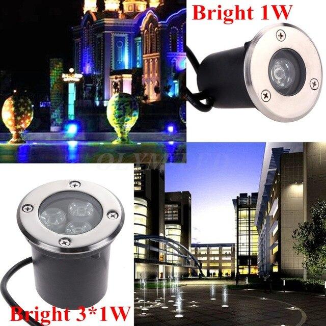 2017 Best Waterproof 1W 3W LED Underground Light Lamp 220V 110V 12V Outdoor Garden Path Buried Yard Lamp Landscape Spot Lights