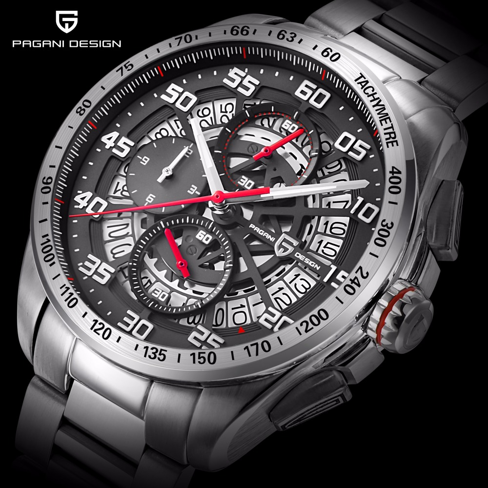 2017 PAGANI DESIGN Top Brand Luxury Skeleton Watch Men Stainless Steel & Leather Strap Waterproof Chronograph Stop Watch Clock