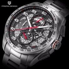 2017 PAGANI DISEÑO de Primeras Marcas de Lujo Reloj Esqueleto Hombres de Acero Inoxidable y Correa de Cuero Impermeable Cronógrafo Cronómetro Reloj