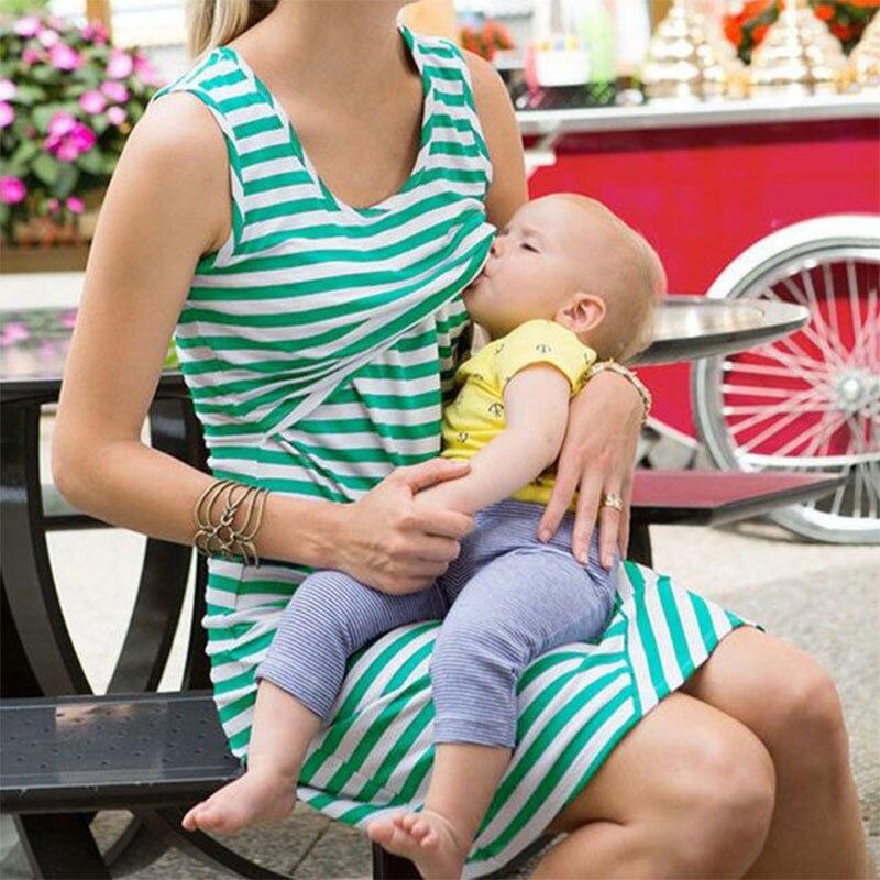 Vestido sin mangas 2017 del nuevo rayado caliente Vestidos lactancia materna enfermería mujeres Vestidos de Tops vestidos S- XL