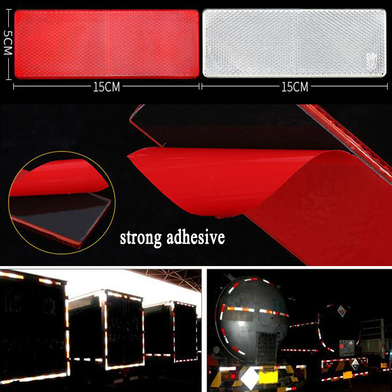 10pieces  Red And White Plastic Retro Reflector Truck Reflective Safety For Car