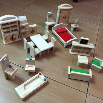 Wooden Miniature Furniture Toys sets for doll house dollhouse Furniture Pretend Play toy Children kids Educational girls gifts furniture toys miniature house cleaning tool doll house accessories for doll house pretend play toy things for dolls