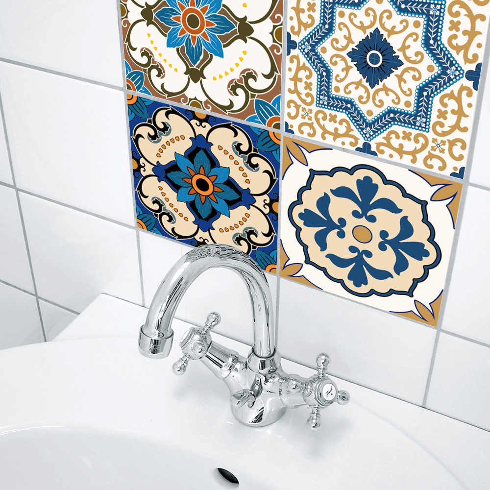 funlife moroccan tile stickers for kitchen backsplash peel and stick bathroom tile decor waterproof wall sticker furniture decal